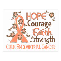 Hope Courage Faith Strength 3 Endometrial Cancer Postcard