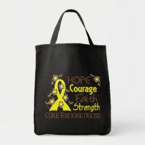 Hope Courage Faith Strength 3 Endometriosis Tote Bag