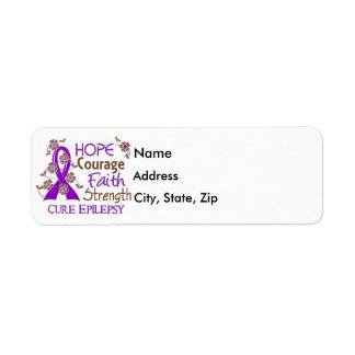 Hope Courage Faith Strength 3 Epilepsy Label