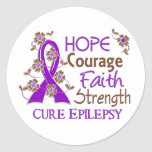 Hope Courage Faith Strength 3 Epilepsy Stickers