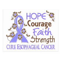 Hope Courage Faith Strength 3 Esophageal Cancer Postcard