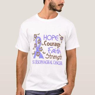Hope Courage Faith Strength 3 Esophageal Cancer T-Shirt
