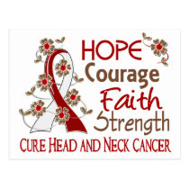 Hope Courage Faith Strength 3 Head Neck Cancer Postcard