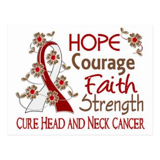 Hope Courage Faith Strength 3 Head Neck Cancer Postcard