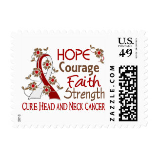 Hope Courage Faith Strength 3 Head Neck Cancer Stamp