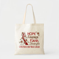 Hope Courage Faith Strength 3 Head Neck Cancer Tote Bag