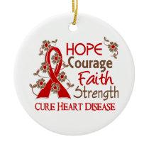 Hope Courage Faith Strength 3 Heart Disease Ceramic Ornament