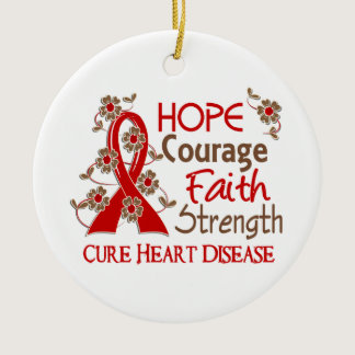 Hope Courage Faith Strength 3 Heart Disease Ceramic Ornament