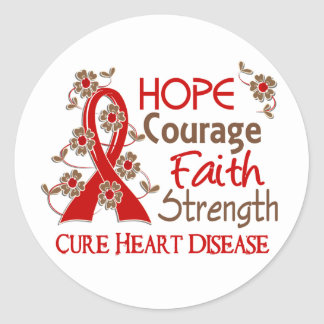 Hope Courage Faith Strength 3 Heart Disease Classic Round Sticker