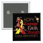 Hope Courage Faith Strength 3 Hepatitis C 2 Inch Square Button