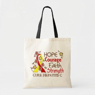 Hope Courage Faith Strength 3 Hepatitis C Tote Bag
