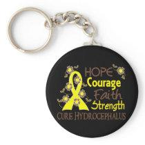 Hope Courage Faith Strength 3 Hydrocephalus Keychain