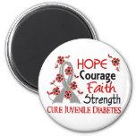 Hope Courage Faith Strength 3 Juvenile Diabetes 2 Inch Round Magnet