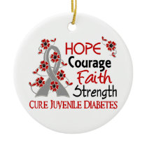 Hope Courage Faith Strength 3 Juvenile Diabetes Ceramic Ornament