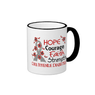 Hope Courage Faith Strength 3 Juvenile Diabetes Ringer Coffee Mug