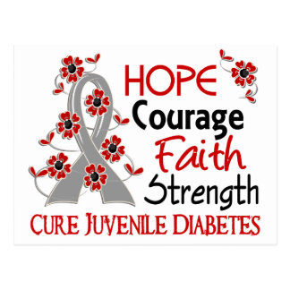 Hope Courage Faith Strength 3 Juvenile Diabetes Postcard