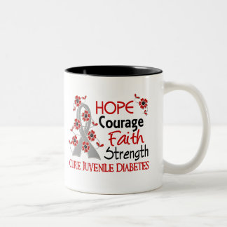 Hope Courage Faith Strength 3 Juvenile Diabetes Two-Tone Coffee Mug
