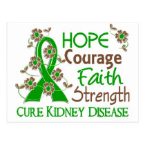 Hope Courage Faith Strength 3 Kidney Disease Postcard