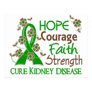 Hope Courage Faith Strength 3 Kidney Disease Postcard