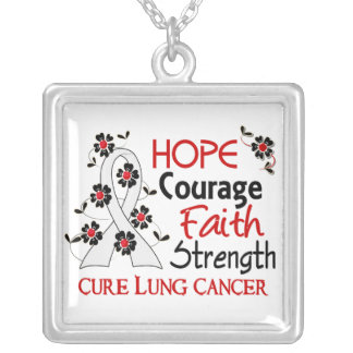 Hope Courage Faith Strength 3 Lung Cancer Silver Plated Necklace
