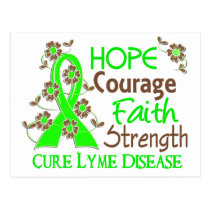 Hope Courage Faith Strength 3 Lyme Disease Postcard