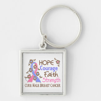 Hope Courage Faith Strength 3 Male Breast Cancer Keychain