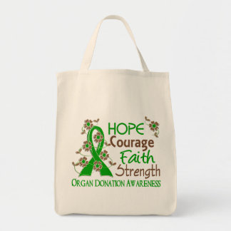 Hope Courage Faith Strength 3 Organ Donation Tote Bag