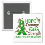 Hope Courage Faith Strength 3 Organ Donation Pinback Button