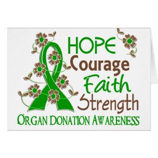 Hope Courage Faith Strength 3 Organ Donation Greeting Card