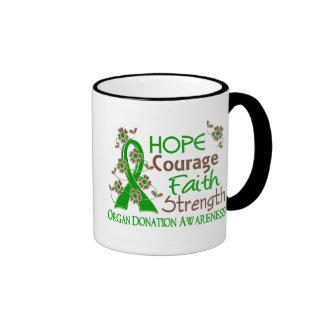 Hope Courage Faith Strength 3 Organ Donation Mugs