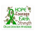 Hope Courage Faith Strength 3 Organ Donation Postcard