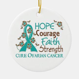 Hope Courage Faith Strength 3 Ovarian Cancer Ceramic Ornament