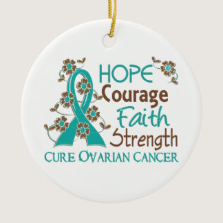 Hope Courage Faith Strength 3 Ovarian Cancer Ceramic Ornament