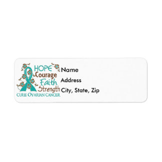 Hope Courage Faith Strength 3 Ovarian Cancer Label