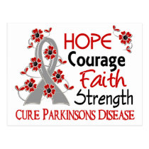 Hope Courage Faith Strength 3 Parkinson's Disease Postcard