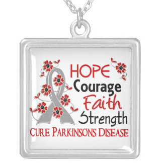 Hope Courage Faith Strength 3 Parkinson's Disease Square Pendant Necklace