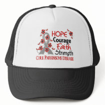 Hope Courage Faith Strength 3 Parkinson's Disease Trucker Hat