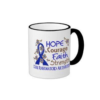 Hope Courage Faith Strength 3 Rheumatoid Arthritis Mugs