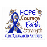 Hope Courage Faith Strength 3 Rheumatoid Arthritis Post Cards