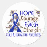 Hope Courage Faith Strength 3 Rheumatoid Arthritis Round Sticker