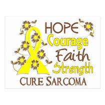 Hope Courage Faith Strength 3 Sarcoma Postcard