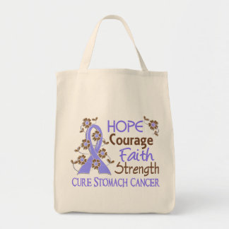 Hope Courage Faith Strength 3 Stomach Cancer Tote Bag