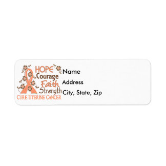 Hope Courage Faith Strength 3 Uterine Cancer Label