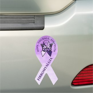 Hope, Courage, Strength Fibromyalgia Car Magnet