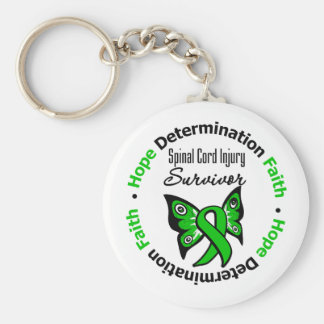 Hope Determination Faith Spinal Cord Injury Keychain