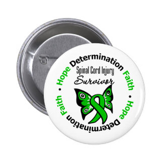 Hope Determination Faith Spinal Cord Injury Pinback Button