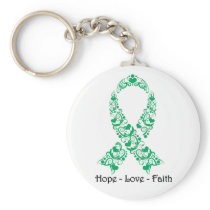 Hope Emerald Green Awareness Ribbon Keychain