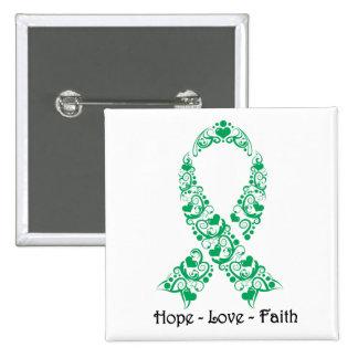 Hope Emerald Green Awareness Ribbon Pinback Button