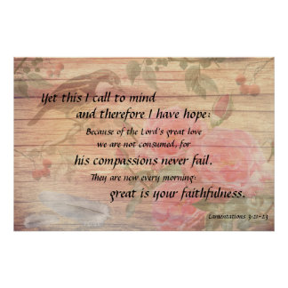 Hope Every Morning Christian Scripture Rose Poster