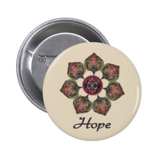 HOPE Fabric Collage Flower Red and Blue Buttons